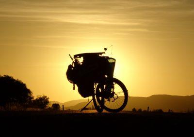 Bike and sun. Karijini National Park, Western Australia.