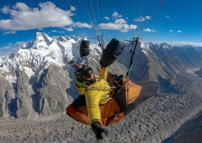 A 6300m devant le Masherbrum et la fin du Glacier du Baltoro